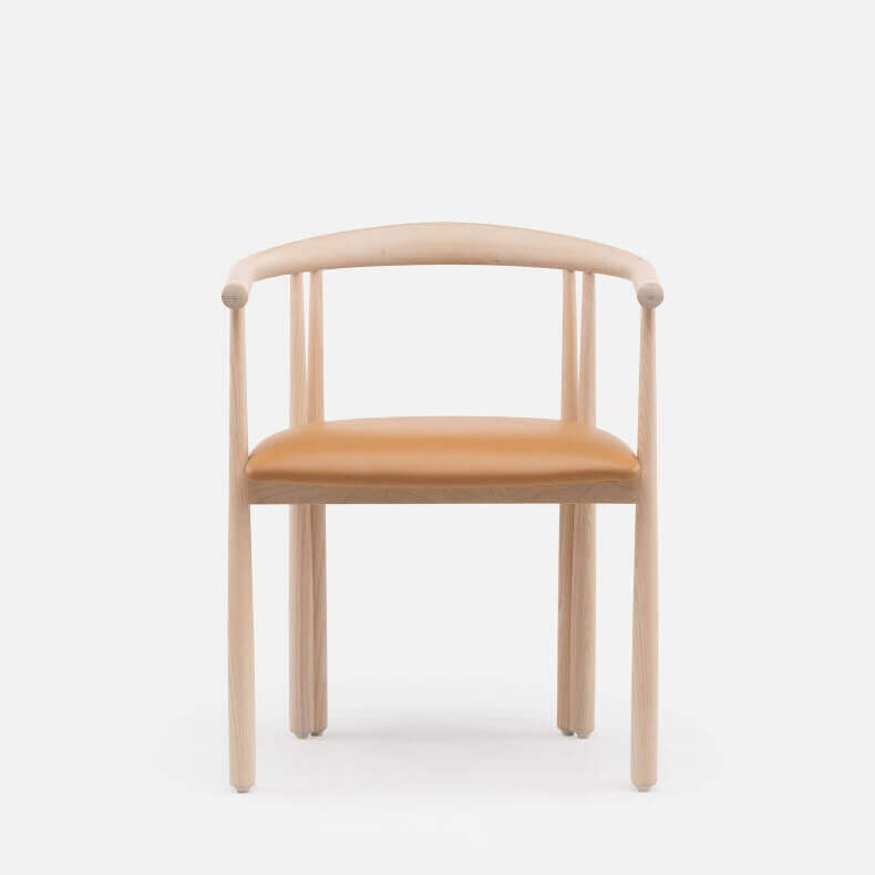 Elliot Chair by Jason Miller in white oiled oak and leather