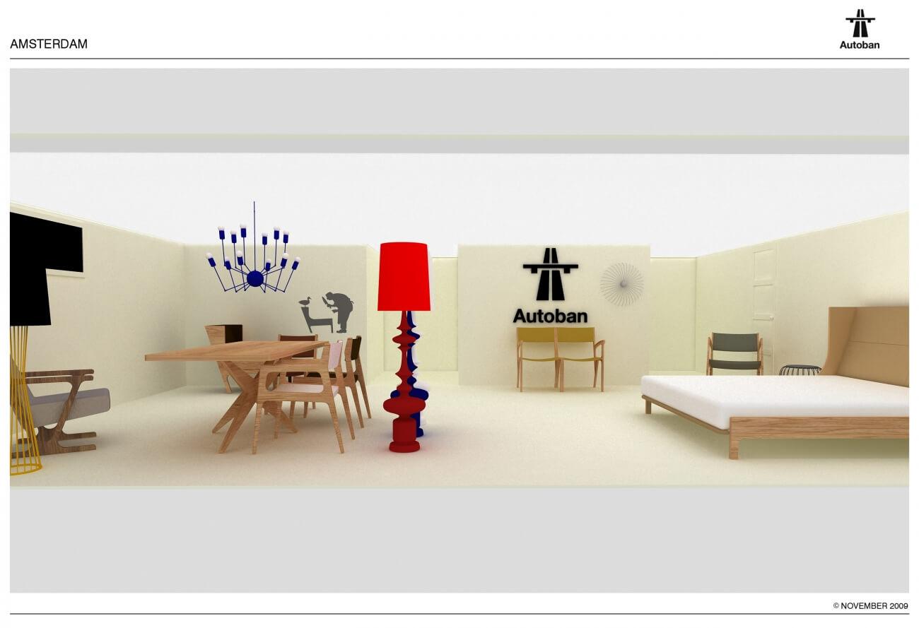 Rendering interieur Suite Wood showroom ontworpen door Autoban