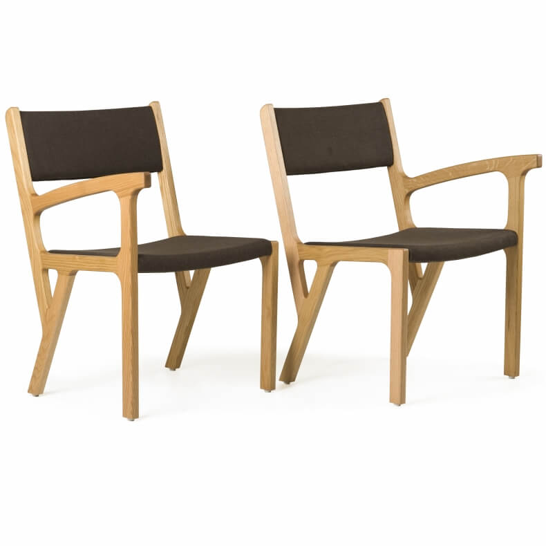 One Armed Chair by Autoban in oak and suede