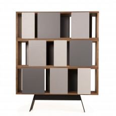 Different Trains Cabinet M by Matthew Hilton in walnut with grey doors