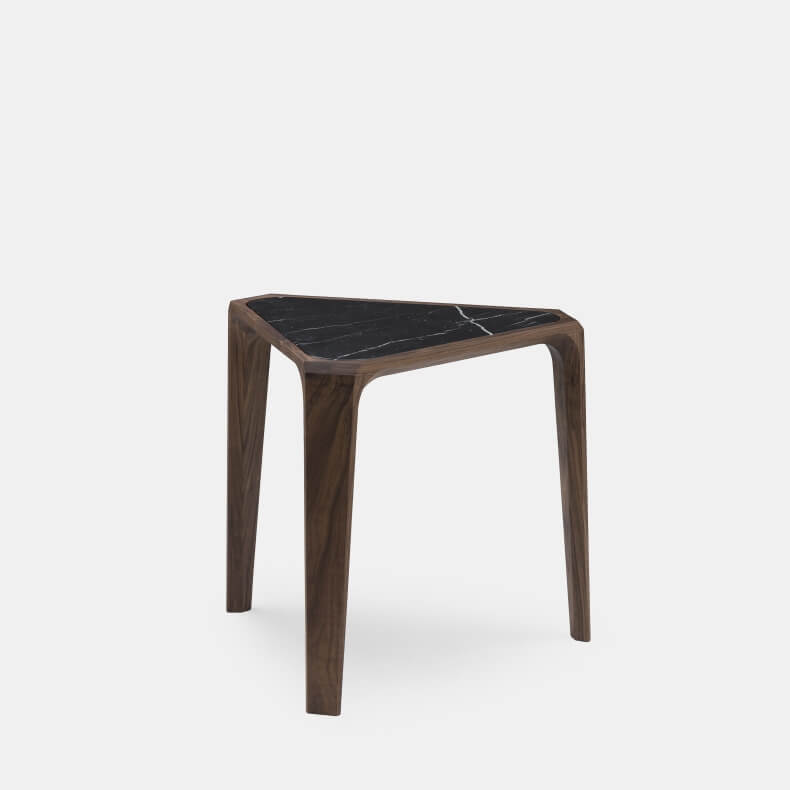 MARY'S SIDE TABLE SHOWN IN DANISH OILED WALNUT AND BLACK NEGRO MARQUINA MARBLE