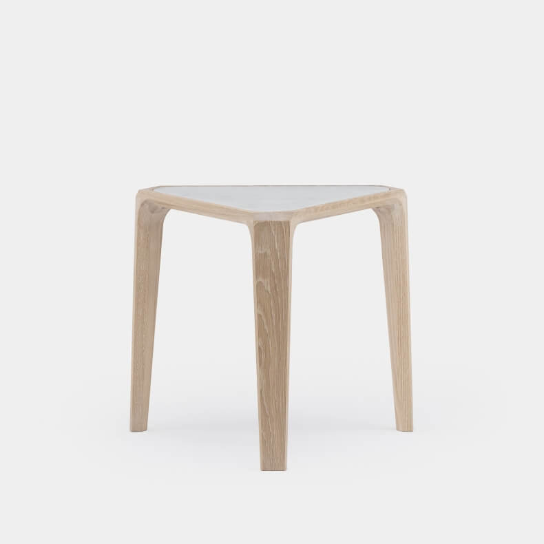 MARY'S SIDE TABLE SHOWN IN WHITE OILED OAK AND WHITE CARRARA MARBLE