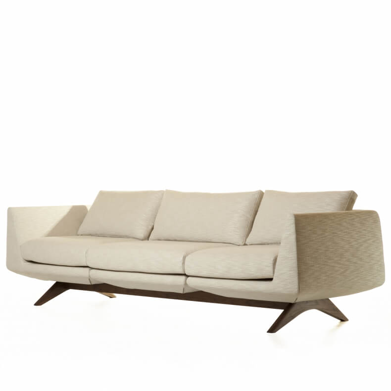 Hepburn Modular 3-seater Sofa in walnut and linen