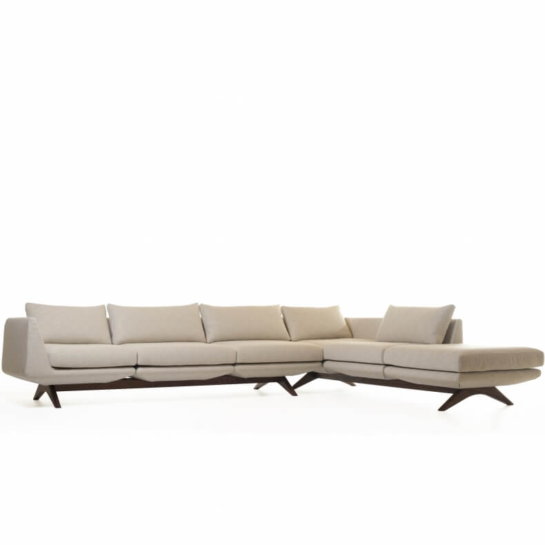 Hepburn Modular Sofa in walnut and linen