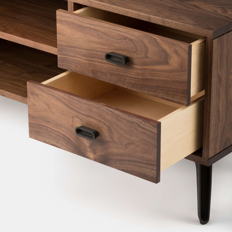 MCQUEEN BEDSIDE RIGHT HAND UNIT SHOWN IN DANISH OILED WALNUT