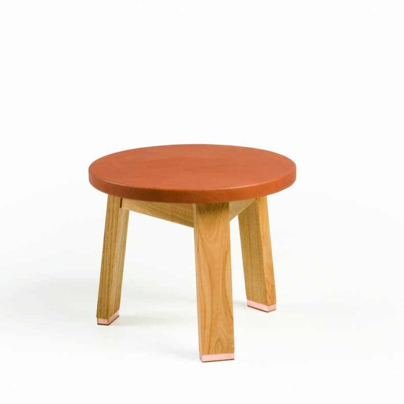 Upholstered Low Stool by Studioilse in danish oiled oak with brown naked leather
