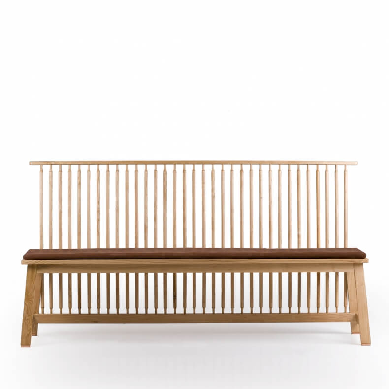 Bench with Back by Studioilse in oak with optional leather seat pad