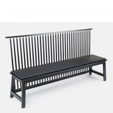 Bench with Back by Studioilse in black painted ash with optional leather seat pad