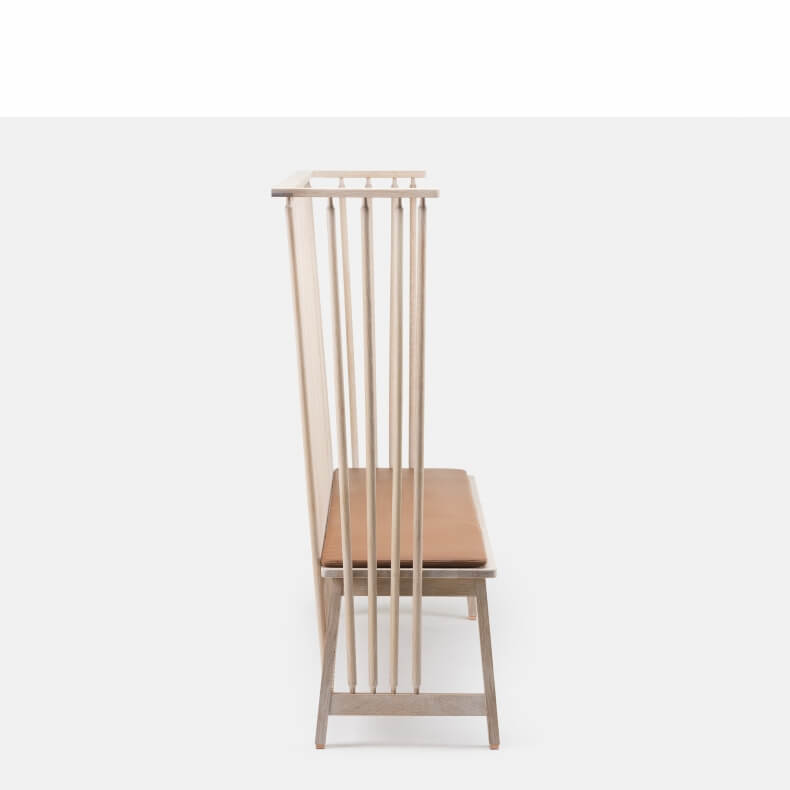 Settle by Studioilse in white oiled oak with optional leather seat pad