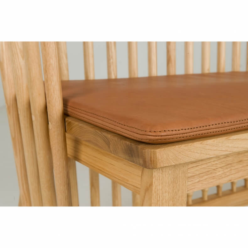 Two Seater Leather Seat Pad by Studioilse in brown naked leather - Suite Wood