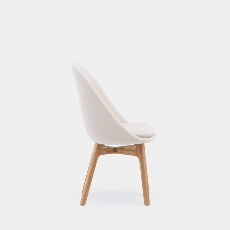 750S Solo Wide Dining Chair by Neri Hu in Danish oiled oak and Sunniva 2 811 fabric