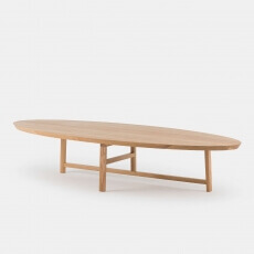 TRIO OVAL COFFEE TABLE SHOWN IN DANISH OILED OAK