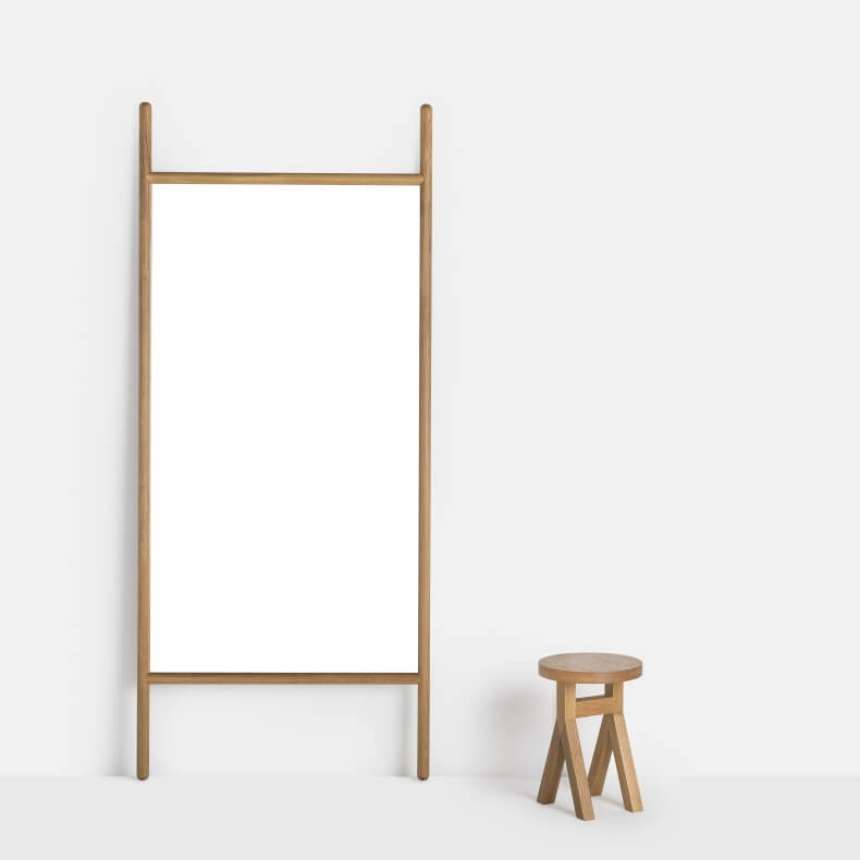 EXTEND LARGE MIRROR SHOWN IN DANISH OILED OAK WITH COMMUNE STOOL