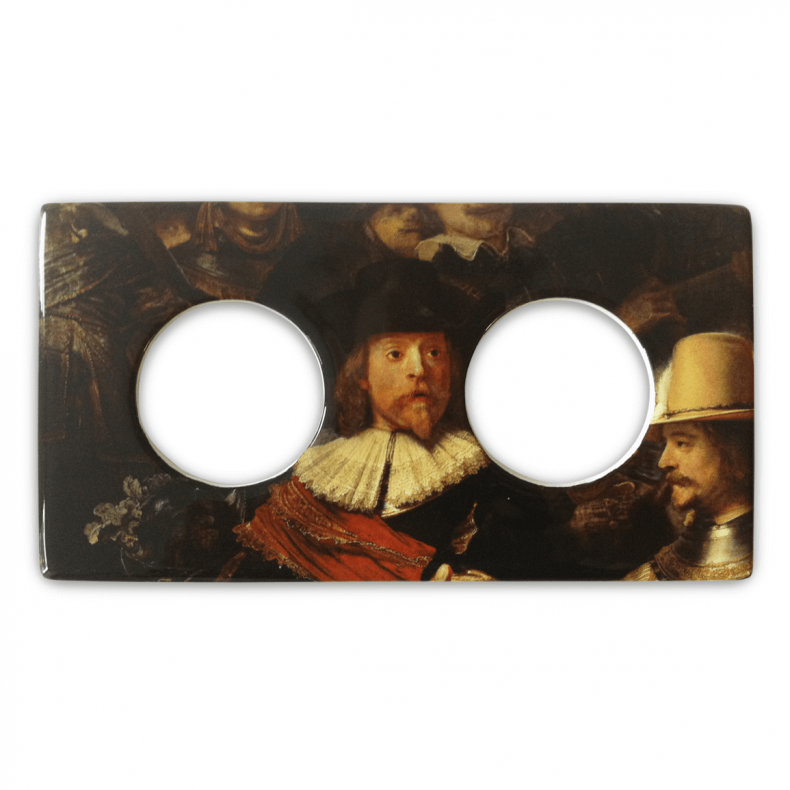 Double ceramic outlet cover with transferprints from the Rijksmuseum