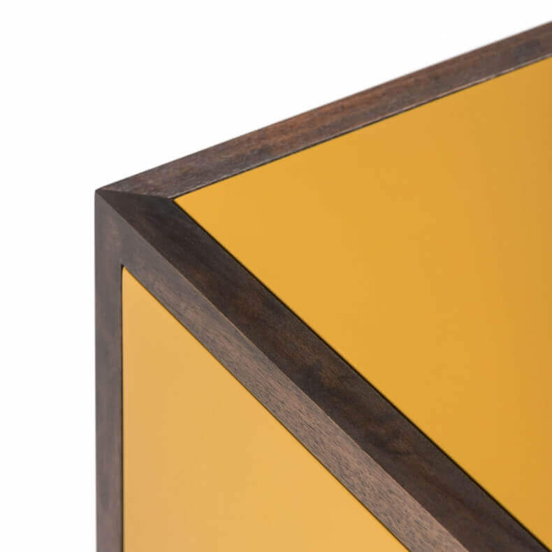 CLASSON SIDEBOARD 4 DOOR SHOWN IN BLACK OILED WALNUT AND OCHRE PAINTED HDF WITH A GLOSS FINISH