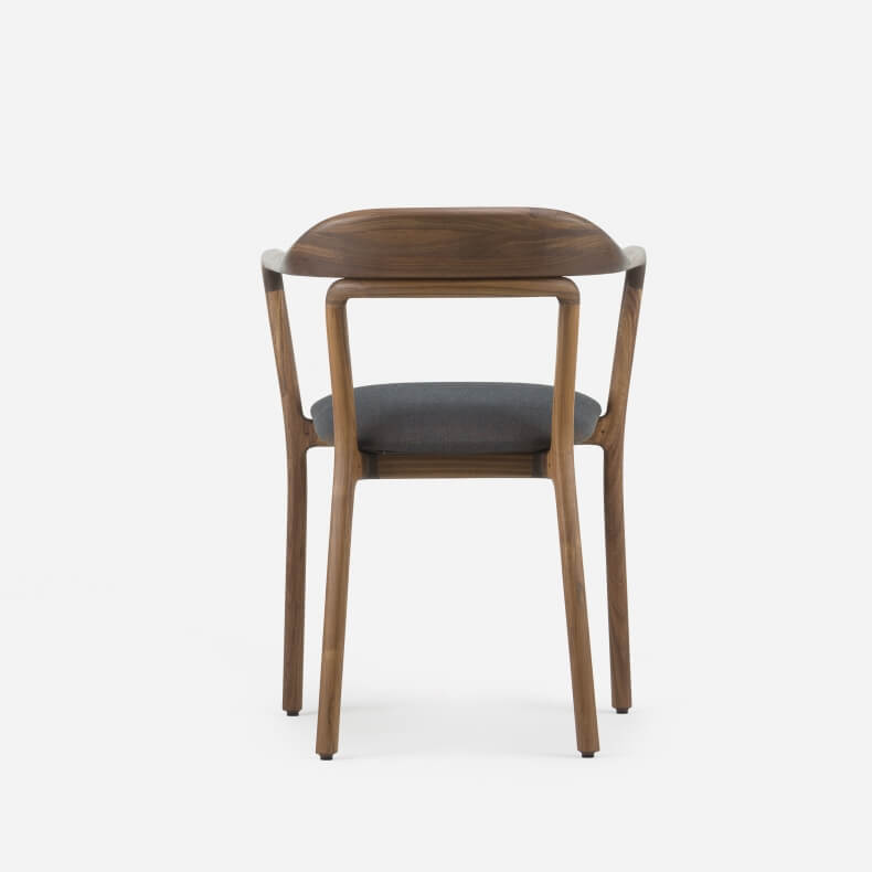 DUET CHAIR SHOWN IN DANISH OILED WALNUT AND CANVAS 764 FABRIC
