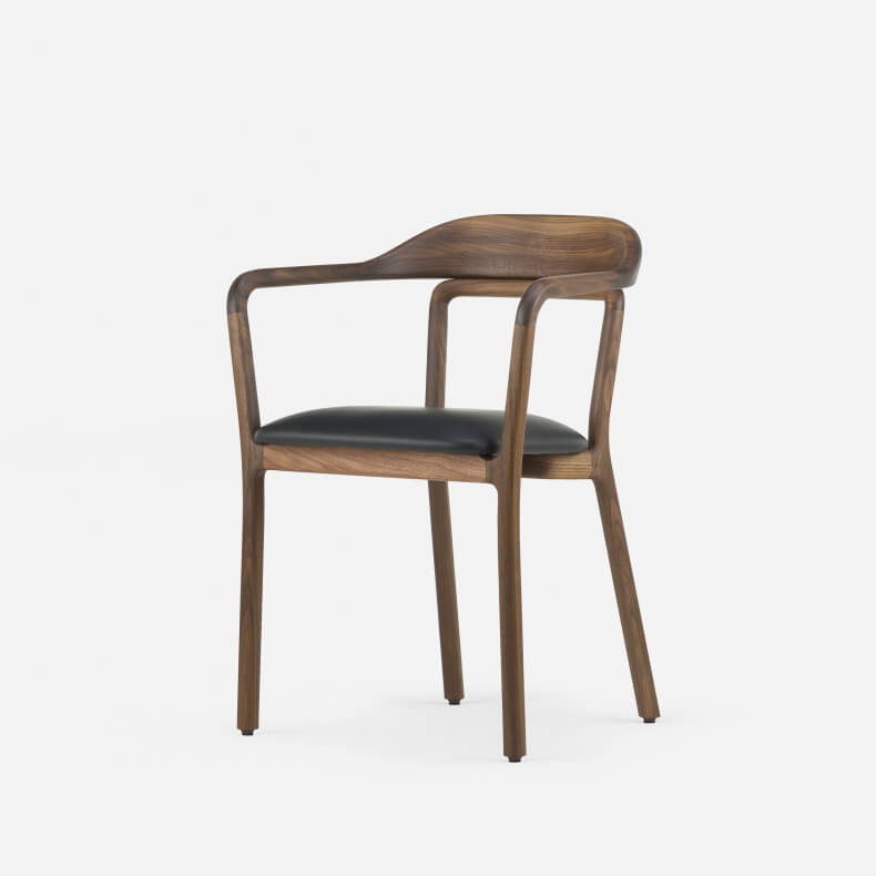 DUET CHAIR SHOWN IN DANISH OILED WALNUT AND LEATHER