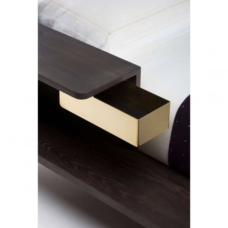 PLATFORM BED SHOWN IN BROWN STAINED ASH - POLISHED BRASS DRAWER DETAIL