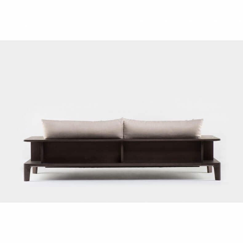 PLATFORM LONG SOFA SHOWN IN BROWN STAINED ASH
