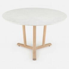 SHAKER ROUND TABLE SHOWN IN WHITE OILED OAK AND CARRARA MARBLE