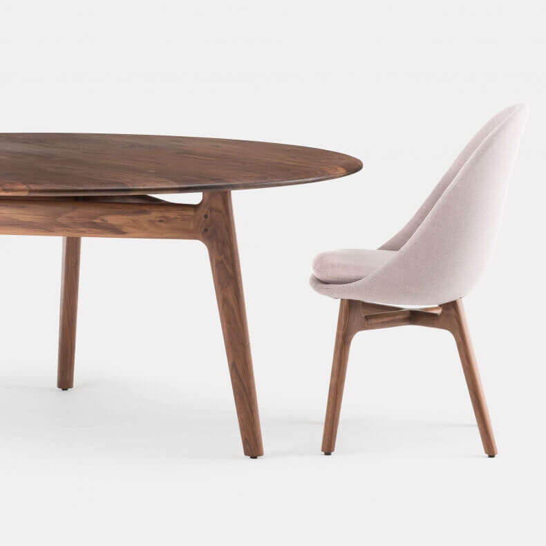 752LR SOLO LARGE ROUND TABLE AND SOLO DINING CHAIR SHOWN IN DANISH OILED WALNUT
