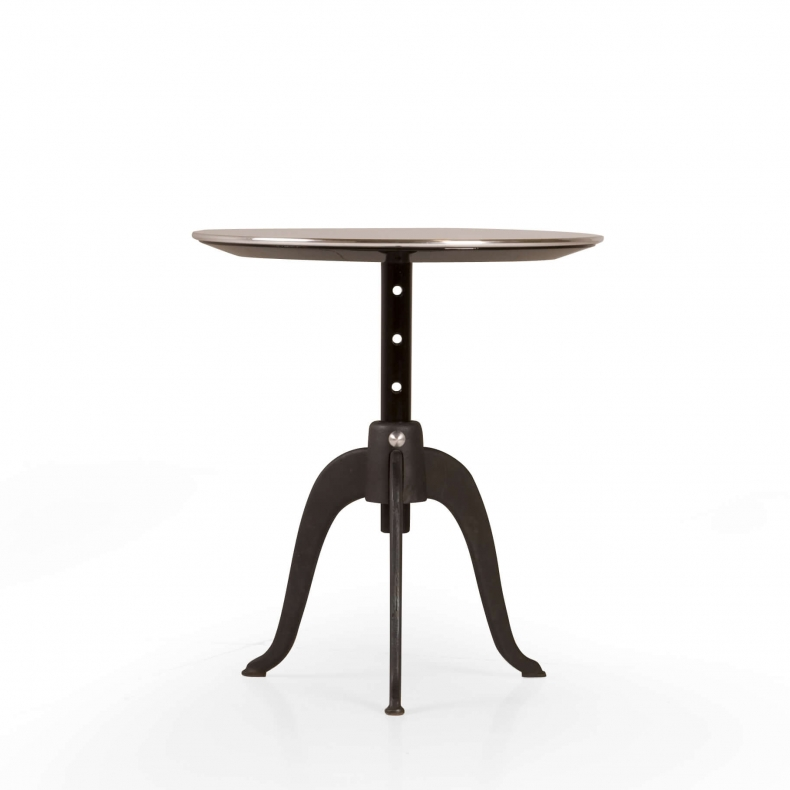 SIDEKICKS HEIGHT ADJUSTABLE TABLE SHOWN IN CAST IRON AND BLACK BROWN PAINTED BEECH