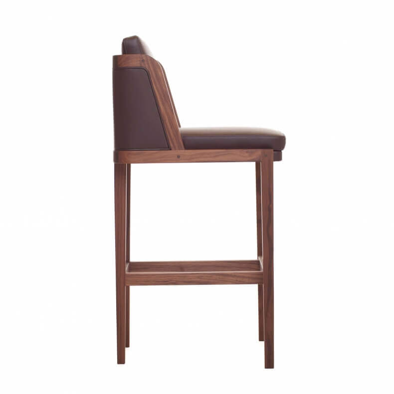 Throne Bar Stool door Autoban in walnotenhout en chocolate leer