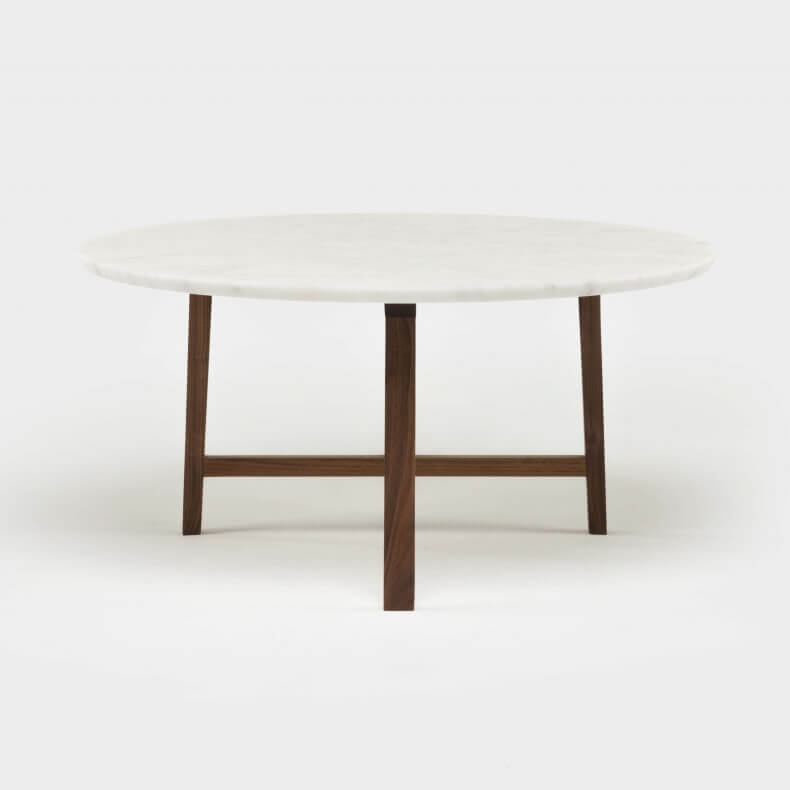 TRIO ROUND COFFEE TABLE SHOWN IN DANISH OILED WALNUT WITH CARRARA MARBLE TOP