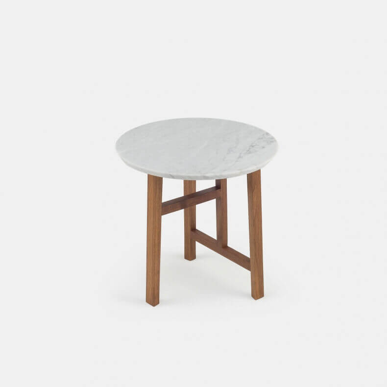 TRIO SIDE TABLE WITH MARBLE TOP SHOWN IN DANISH OILED WALNUT