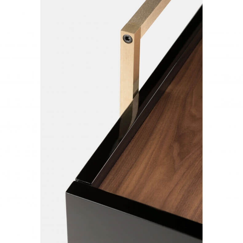 TRUNK LOW CABINET SHOWN IN DANISH OILED WALNUT AND BLACK LACQUER