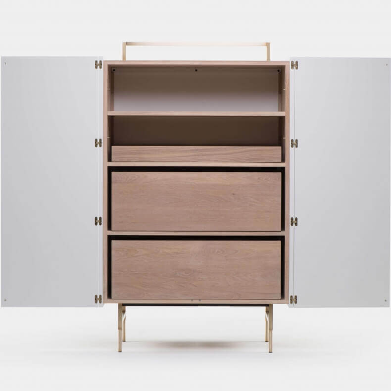 TRUNK TALL CABINET SHOWN IN WHITE OILED OAK AND WHITE LACQUER