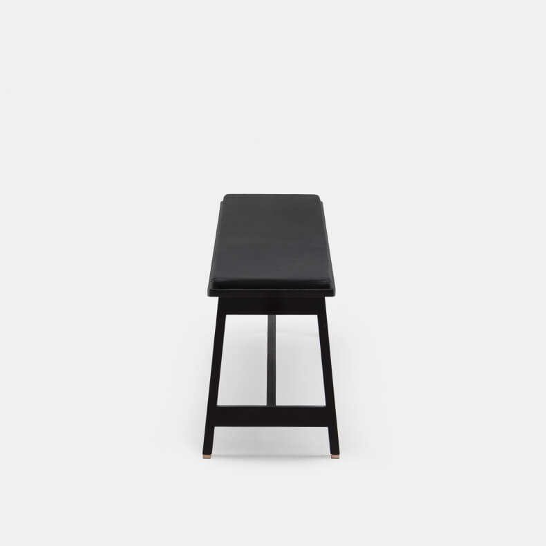 Bench by Studioilse in black painted ash with optional leather seat pad