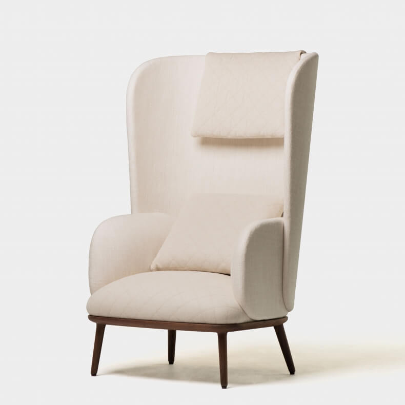 Blanche Bergere by Nichetto in walnut and fabrics Collobrieres Creme and Trinidad Lin