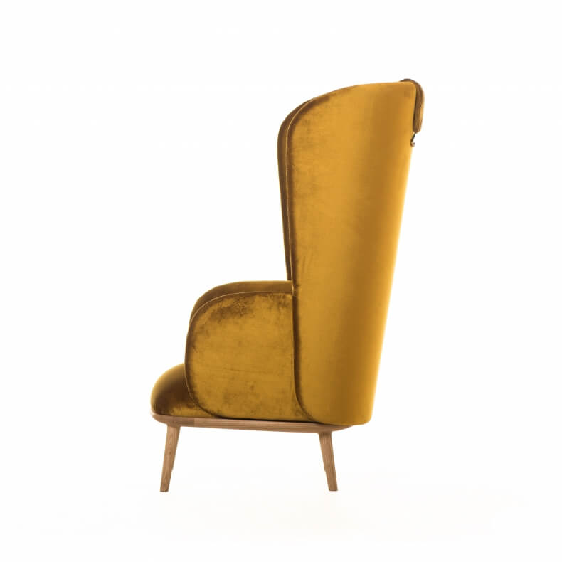 Blanche Bergere by Nichetto in ash and fabric Venezia Oro