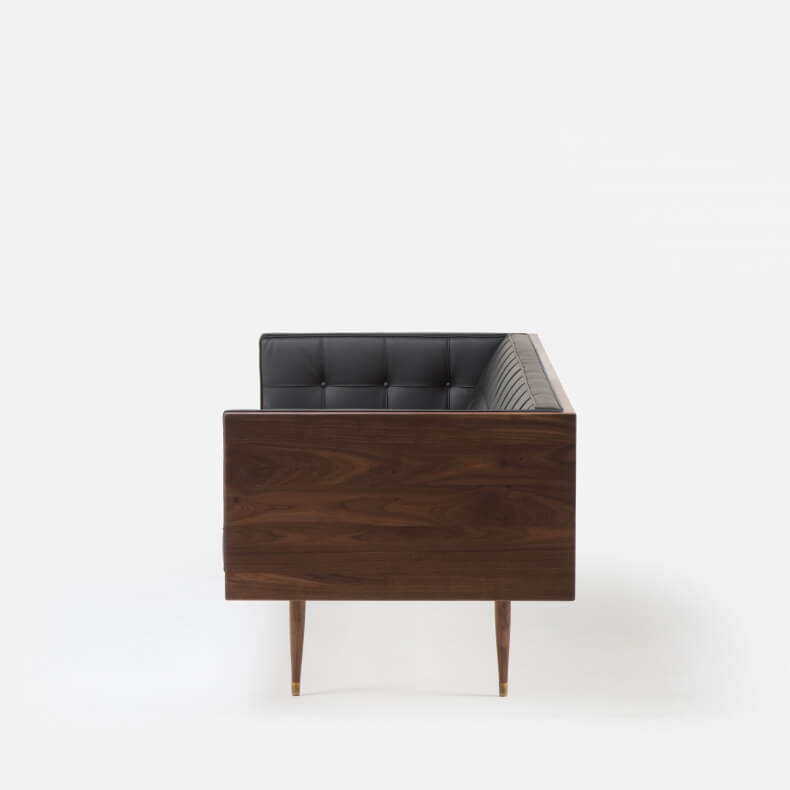 Box Sofa in walnut and liquorice leather