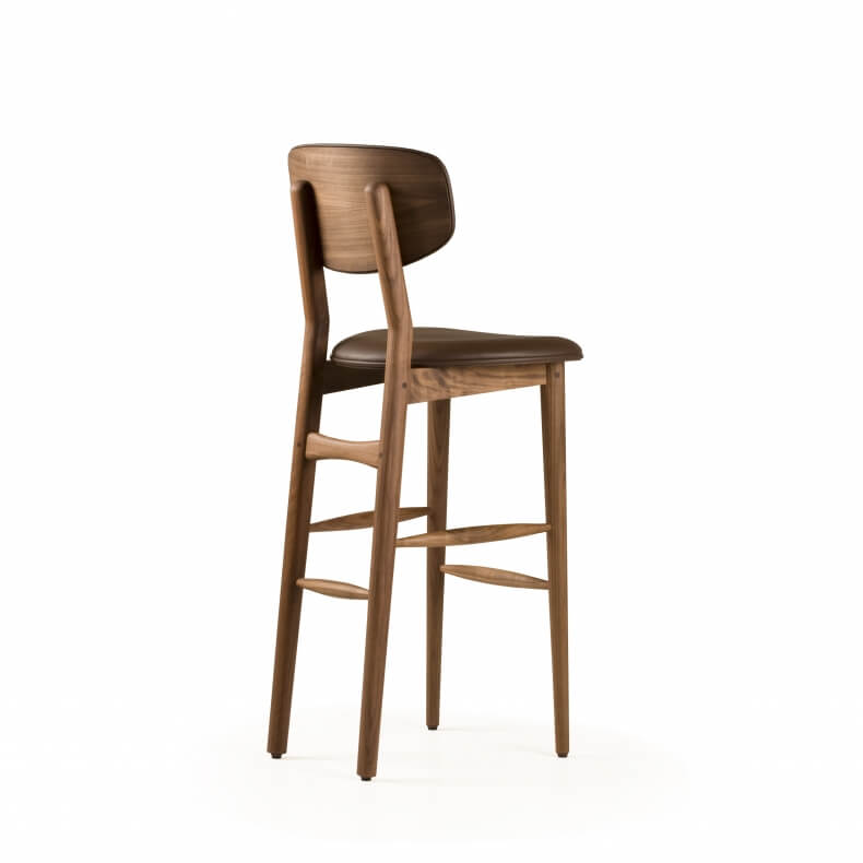 Butterfly Breakfast Bar Stool by Autoban in walnut with leather