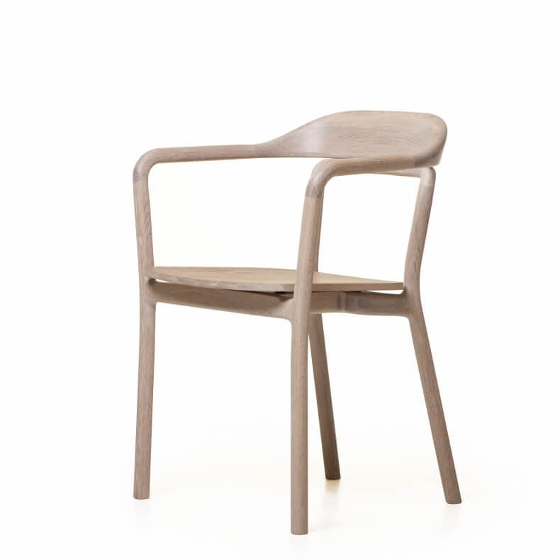 DUET CHAIR WITH TIMBER SEAT SHOWN IN WHITE OILED OAK