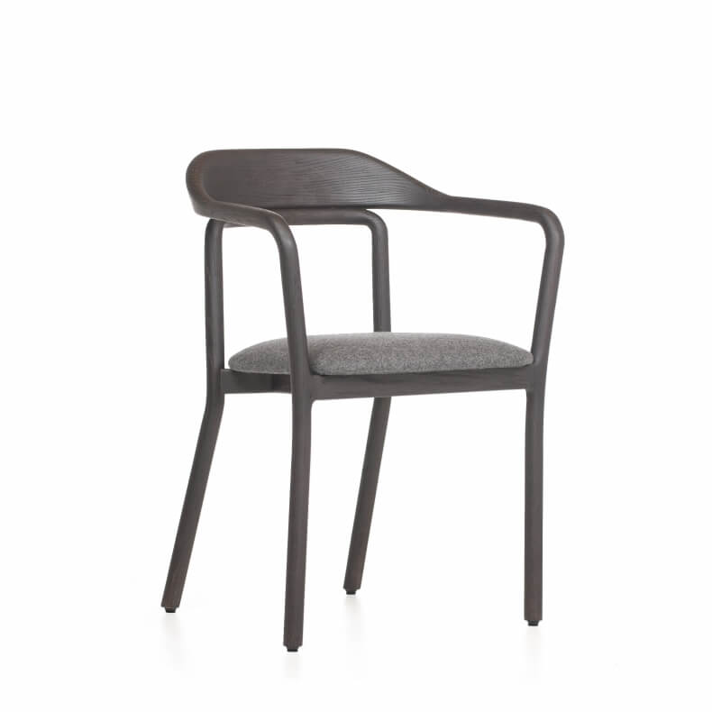DUET CHAIR SHOWN IN BLACK PAINTED ASH AND WOOL