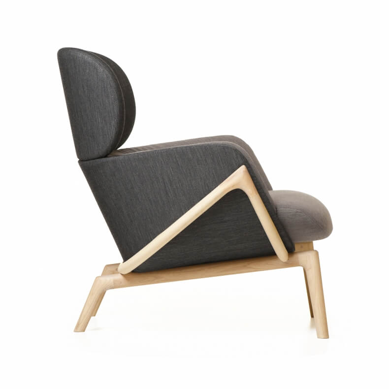 ELYSIA LOUNGE CHAIR SHOWN IN DANISH OILED ASH AND FABRIC