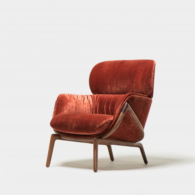 ELYSIA LOUNGE CHAIR SHOWN IN DANISH OILED WALNUT AND VELVET