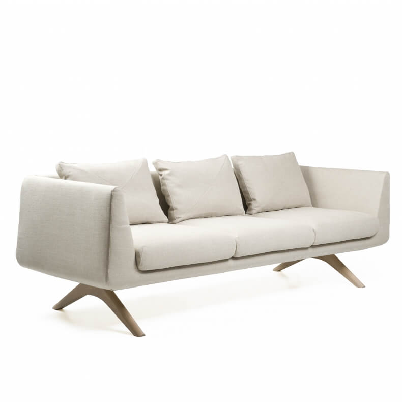 Hepburn Sofa in walnut and linen