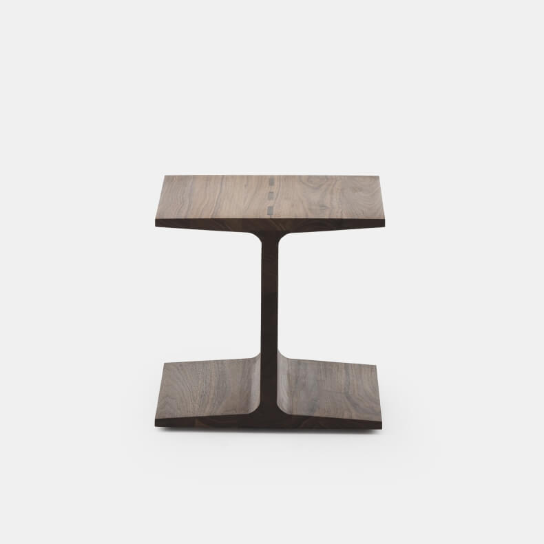 I-Beam side table in walnut, designed by Matthew Hilton and manufactured by De La Espada