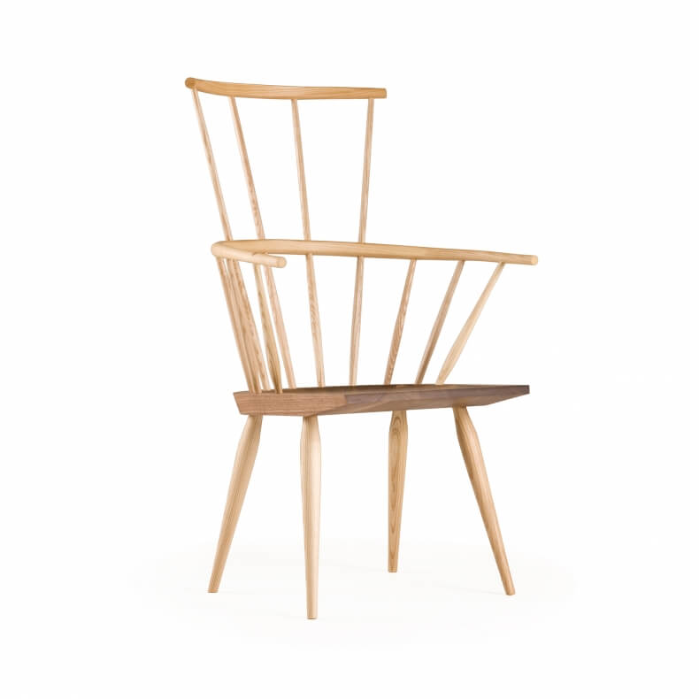 Kimble Windsor Chair door Matthew Hilton in essenhout en walnotenhout