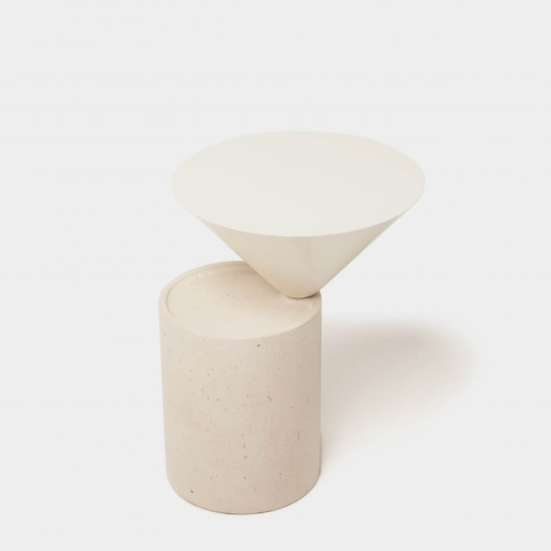 Laurel Side Table in Ataija Creme Limestone and bone lacquered HDF