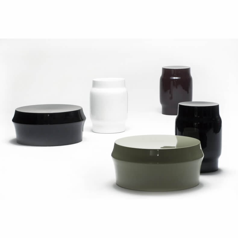 Zhuzi Table and Lianou Stool in different colors