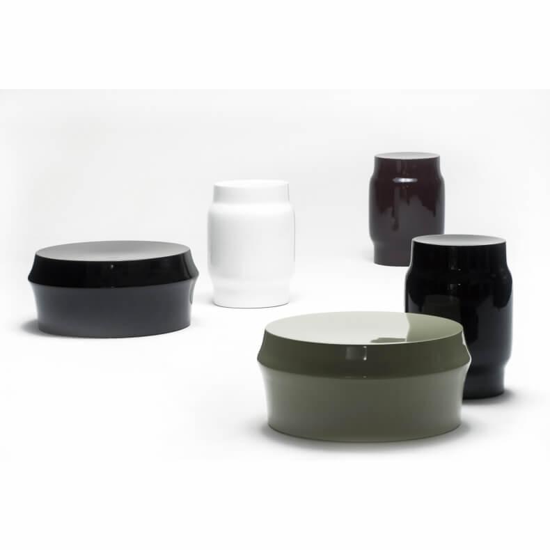 Zhuzi Table en Lianou Stool in verschillende kleuren