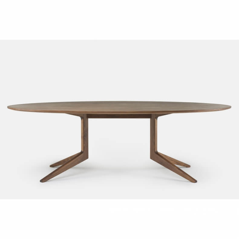 Light Oval Table in walnut