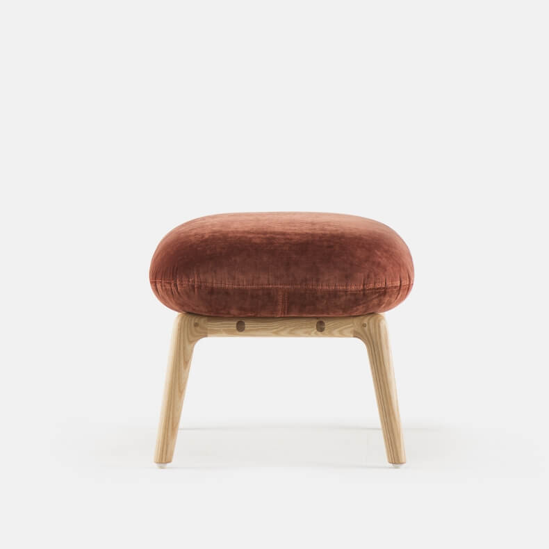 Nino Ottoman by Luca Nichetto in Danish Oiled Ash and Velvet