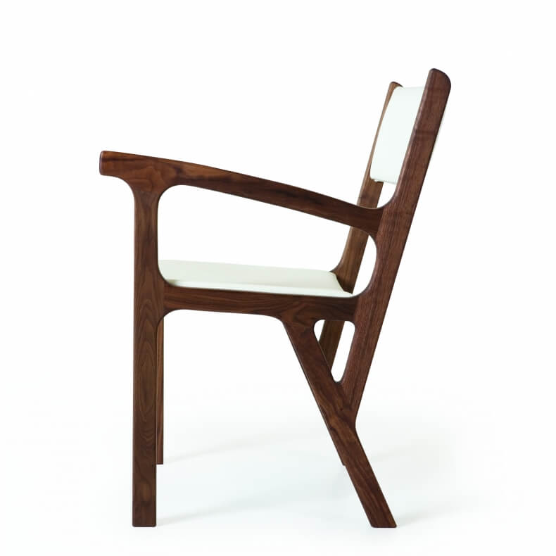 One Armed Chair by Autoban in walnut and leather