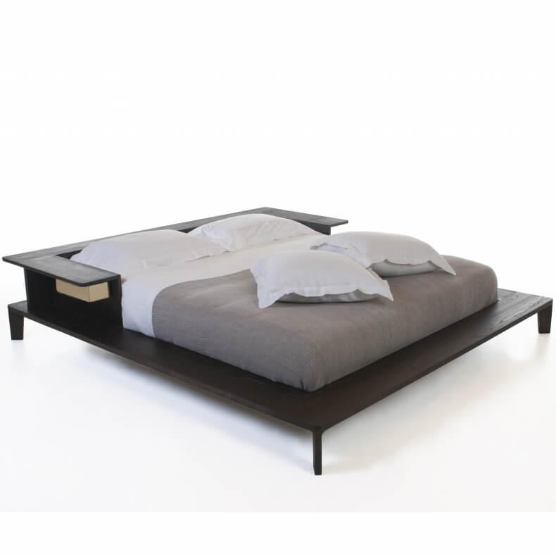 PLATFORM BED SHOWN IN BROWN STAINED ASH